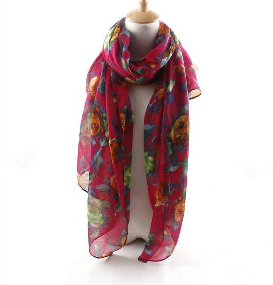 2015New Women's Fashion Plain roses bufandas desigual bandana scarf made with Voile can Sunscreen in the Spring(China (Mainland))