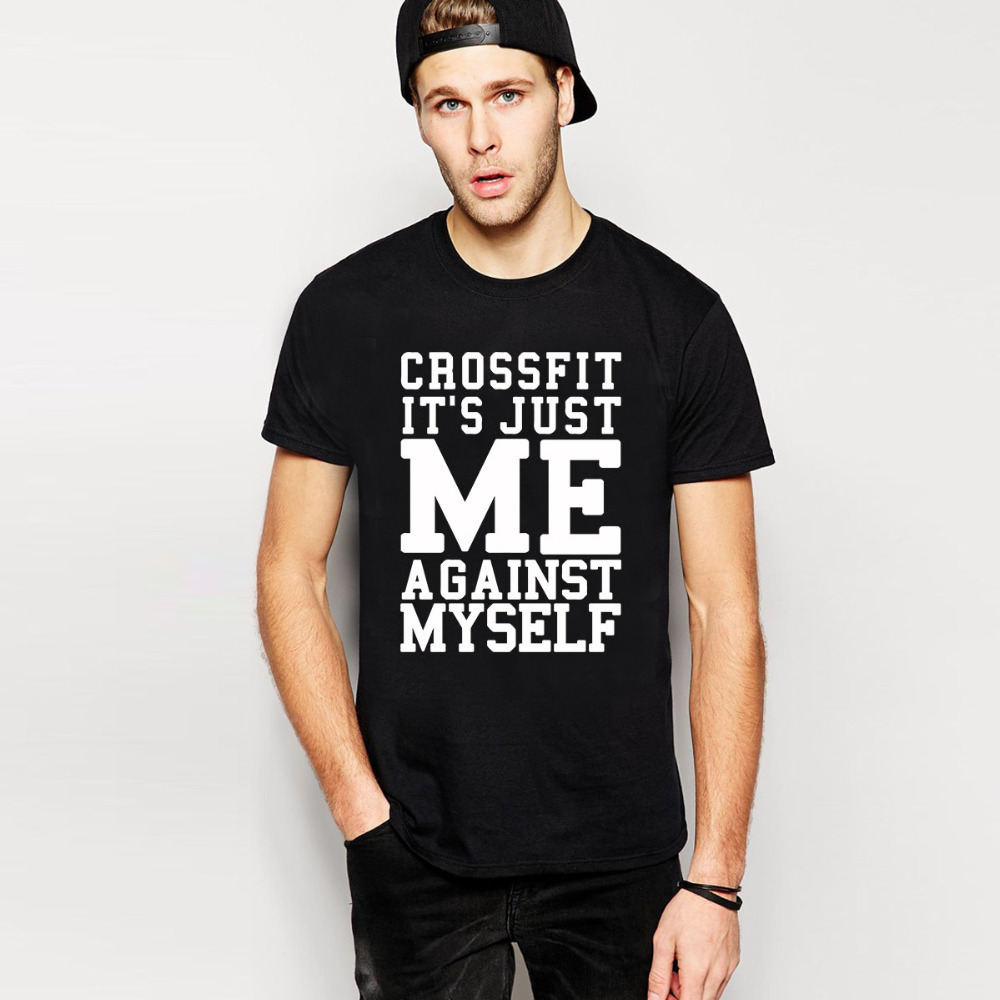 New fashion cotton crossfit me against myself eco t shirts for T shirts for gym workout