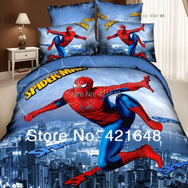 Бесплатная доставка 100% хлопок 4 шт. 3d постельных принадлежностей человек паук housse де couette домашний текстиль паук королева постельные принадлежности