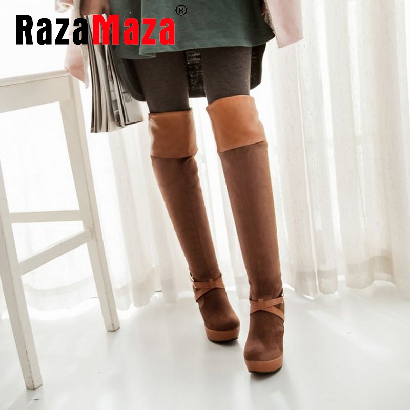 size 32-43 women round toe high heel over knee boot winter warm plush long boot platform fashion footwear heels shoes P21620<br><br>Aliexpress