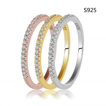 1pc 100% Real. Solid 925 Sterling Silver Half CZ Covered Eternity Love Ring for Women 1.5MM Gold Tone, White Tone Engagement(China (Mainland))