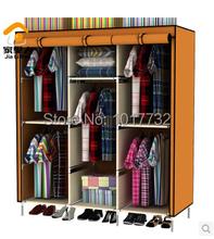 Large capacity Large wardrobe 5 hanging rods cloth wardrobe zipper wardrobe bedroom furniture clothes wardrobe home furniture(China (Mainland))