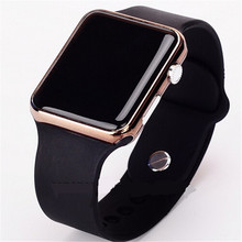 Hot New Square Mirror Face Silicone Band Digital Watch Red LED Watches Quartz Wrist Watch Sport Clock Hours