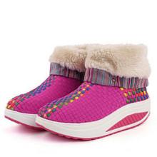 Las mujeres Botines de Piel Transpirable Oscilación de Adelgazamiento Zapatos Casuales Aumento de la Altura Botas Nieve de Las Mujeres Tejer Zapatos de Invierno Zapatos de Cuña(China (Mainland))