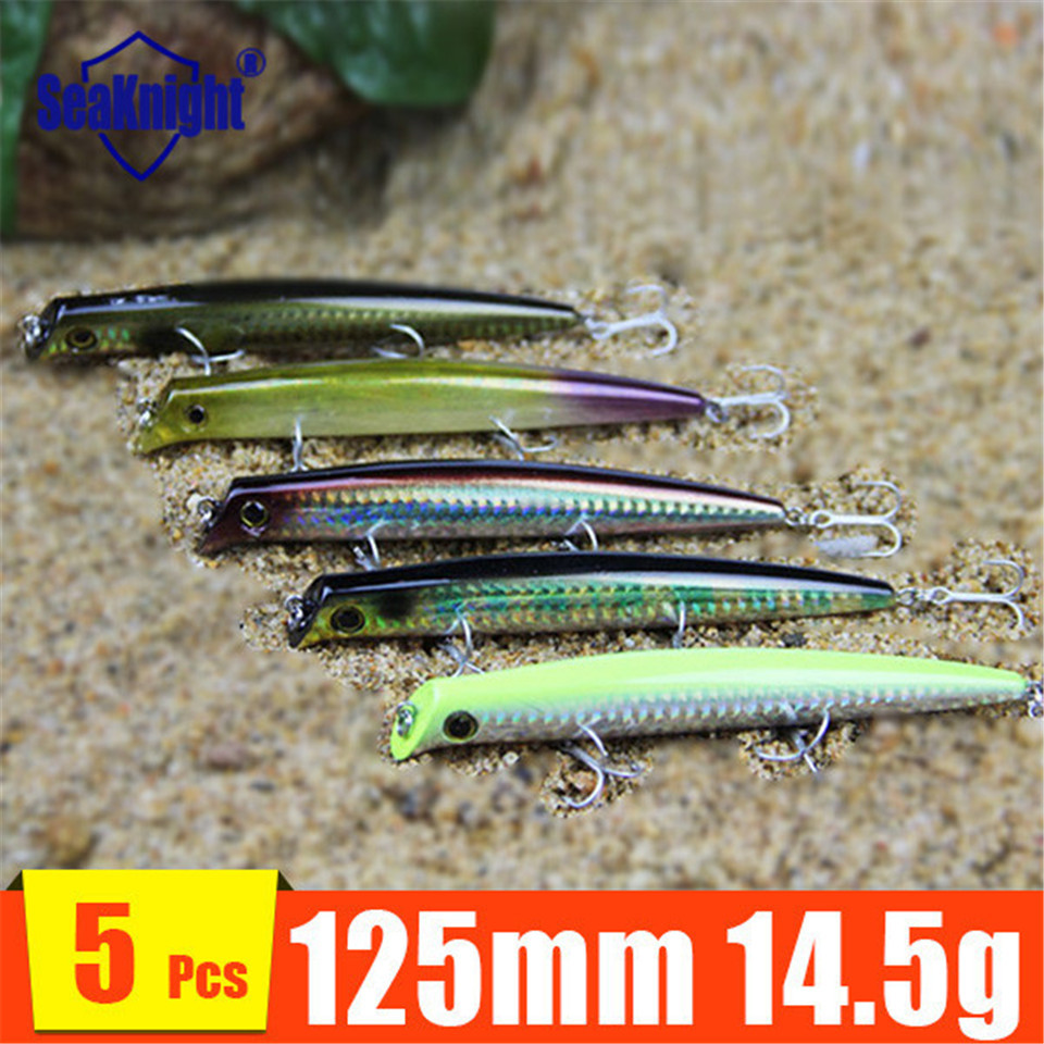 Simulation Bait Fishing Pencil Minnow Artificial Plastic Deep Diver Hard Fishing lures Fish Bait 5 pieces 125mm 14.5g(China (Mainland))