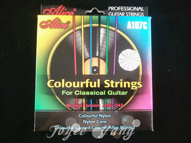 Alice Colourful Clear Nylon Classical Guitar Strings 1st-6th Strings Free Shipping Wholesales(China (Mainland))