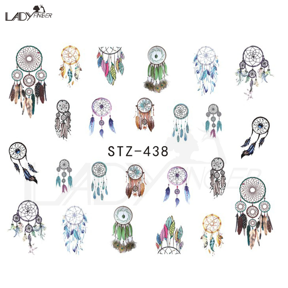 Lady Finger 1PCS Beauty Nail Dream Catcher Nail Art Water Transfer Sticker Decal For Nail Art Tattoo Tips DIY Nail Tool STZ438(China (Mainland))