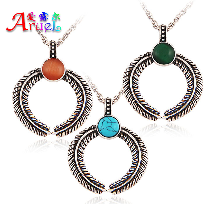 Retro Silver Long Silicone Blue Turquoise Necklace And Crystal Green/Red Opal Feather Pendant Cadenas For Women/Men Best Friends(China (Mainland))