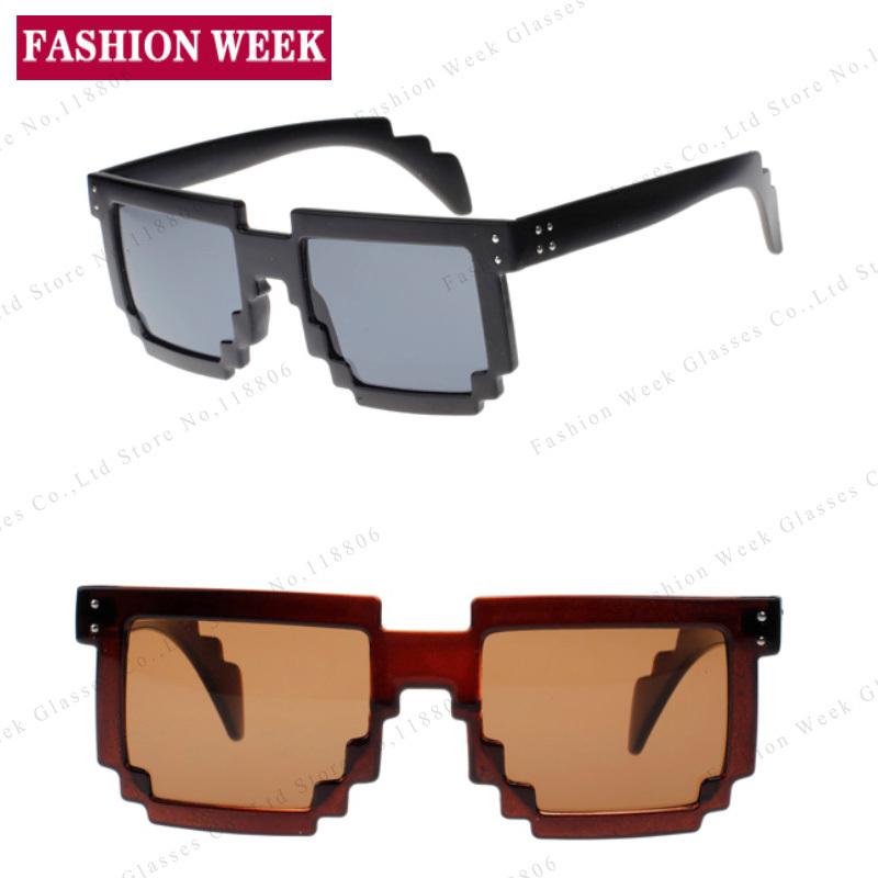 Big Code Pixelated Square Multi 7Colors Sunglasses Designer CPU Gamer UV400 Geek Sun glass Inspired Brand Color Filter Oculos(China (Mainland))