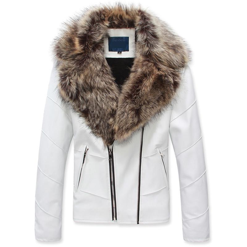 Popular Men Leather Jacket Fur Collar White-Buy Cheap Men Leather ...