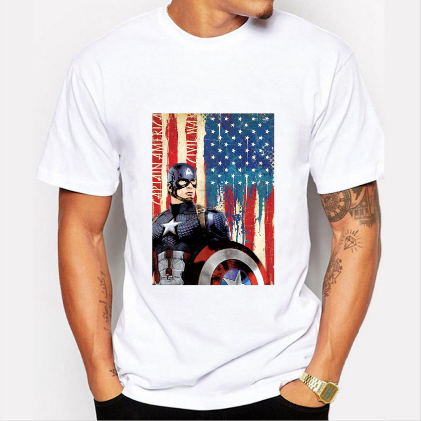 New classic captain america print t shirt men fashion 2016 for All american classic shirt