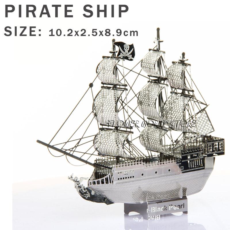 Pirates of the Caribbean ship puzzle 3D metal model Pirates ship Black Pearl Sailboat Jigsaws Model ships Ship models(China (Mainland))
