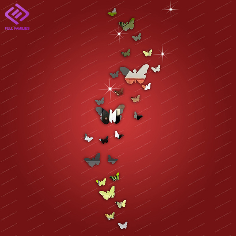 25pcs Butterfly Mirror Wall Sticker adesivos de parede Best Gifts For Home Decor Acrylic DIY Wall Stickers For Kids Rooms(China (Mainland))
