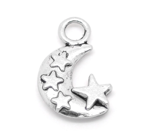 Free Shipping 60 Silver Tone Star On Moon Charms Pendants 20x12mm For Jewelry Making(China (Mainland))