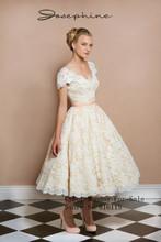 2016 new arrival white ivory brides tea knee length 1950s lace vintage retro short wedding dress(China (Mainland))