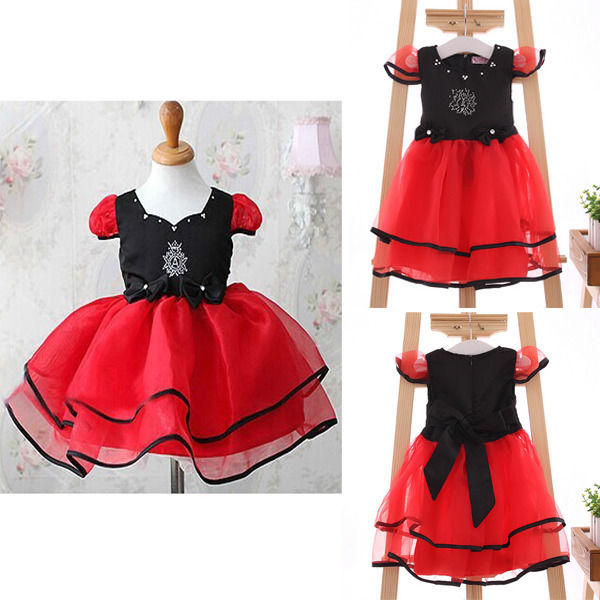 NWT Girls Kids Princess Red Tulle Bow Party One-pieces Gown Fancy Dresses 1-6Y(China (Mainland))