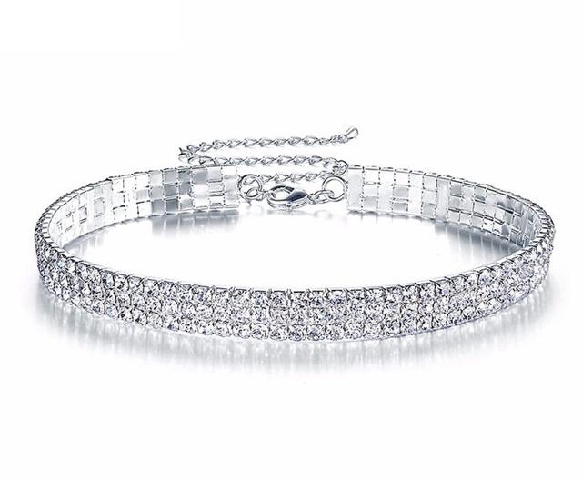 Memory Wire Silver Plating 3-Row Rhinestone Choker Bridal Wedding Necklace Jewelry