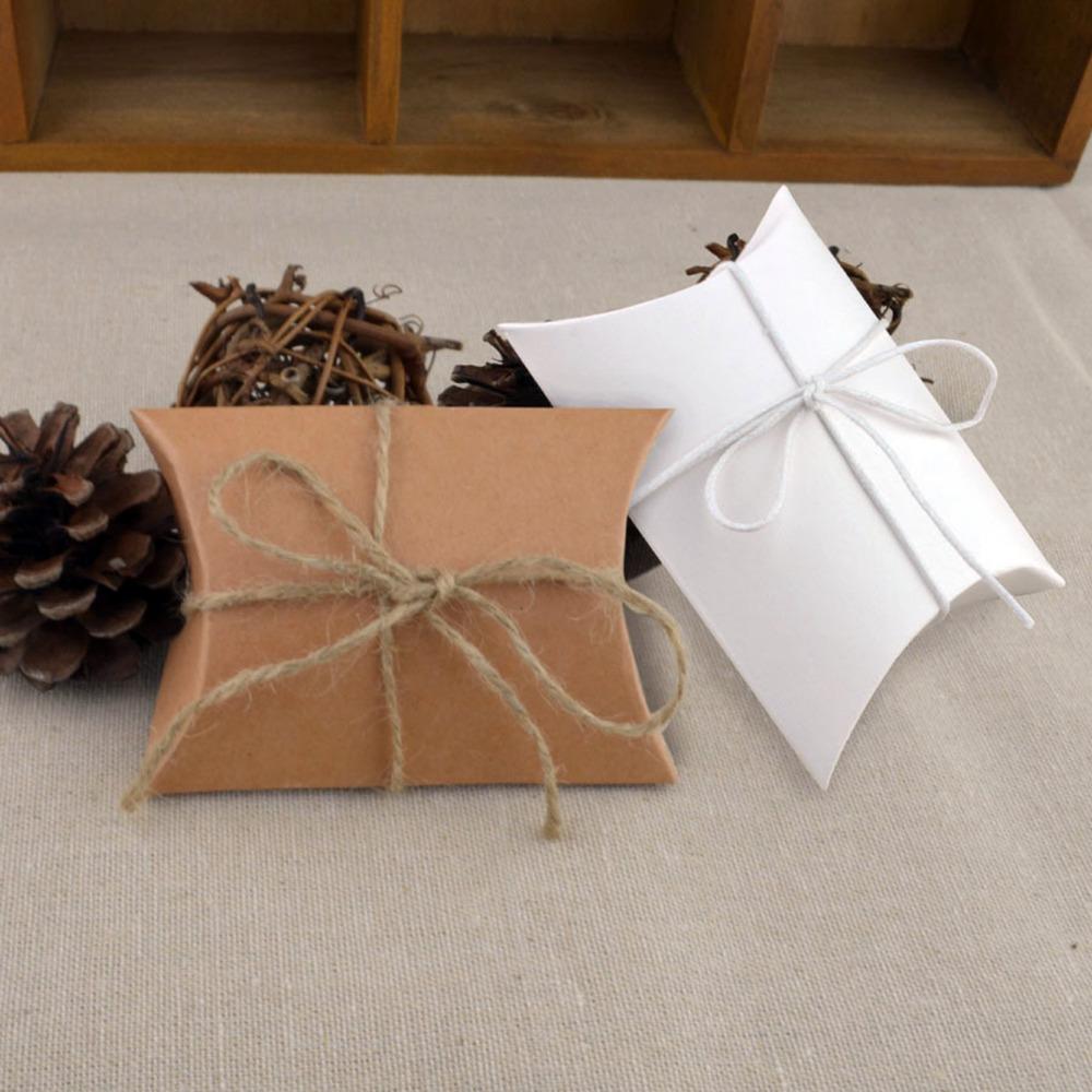 New Style 10pcs/lot Wedding Gift Boxes Kraft Pillow Shape Wedding Favor Gift Box Party wedding Supplies(China (Mainland))