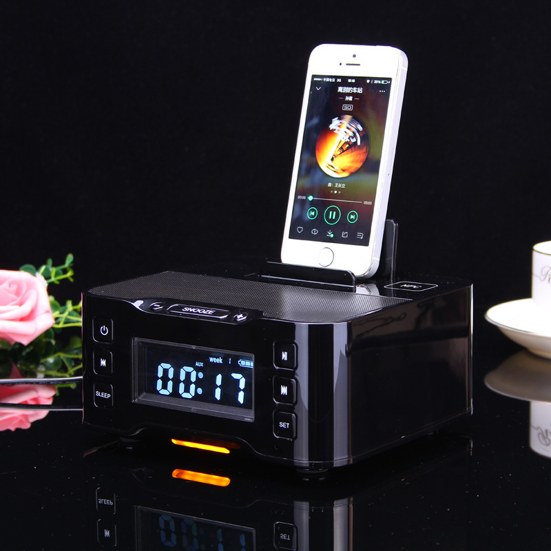 2016 NFC Bluetooth Speaker charging Docking Station for iPhone and Android With FM Radio Alarm Clock(China (Mainland))