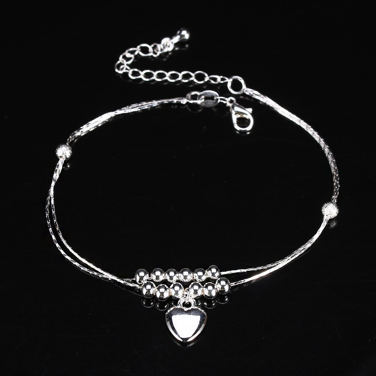 New Charm Anklets for Women Vintage Foot Jewelry Ancient Silver Plated heart Ankle Chain Bracelet(China (Mainland))