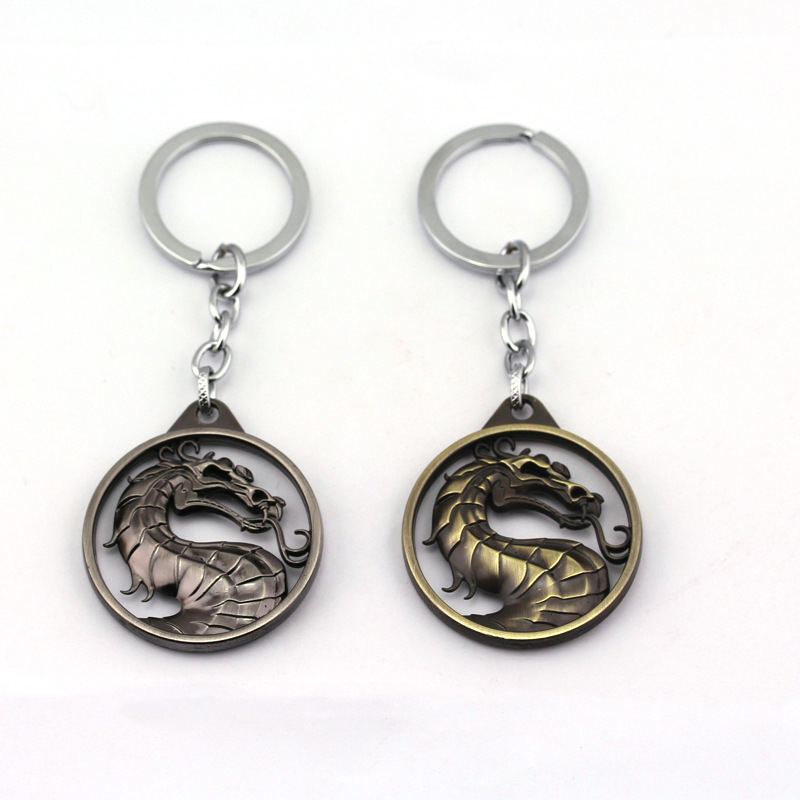 Hot Game Mortal Kombat Silver/Bronze Color Gragon Keychain Pendant Charm Jewelry Accessories Good Gift for kids/Children(China (Mainland))