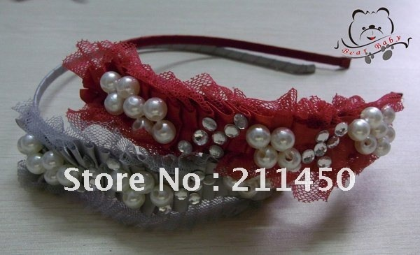 Free Shipping  0.5cm Fashion Flower Hairband+Lace+Pearls, New flower hair accessories,10pcs/Lot -KD12042310