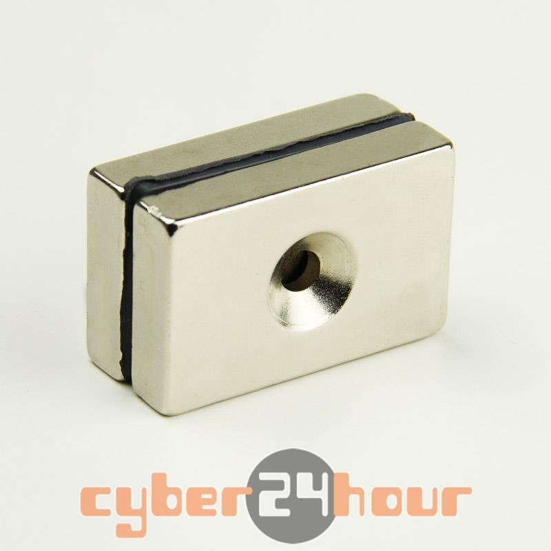 Гаджет  Neodymium Countersunk Ring Block Strong Magnets 40mm x 25mm x 8mm Hole 5mm N35 None Строительство и Недвижимость