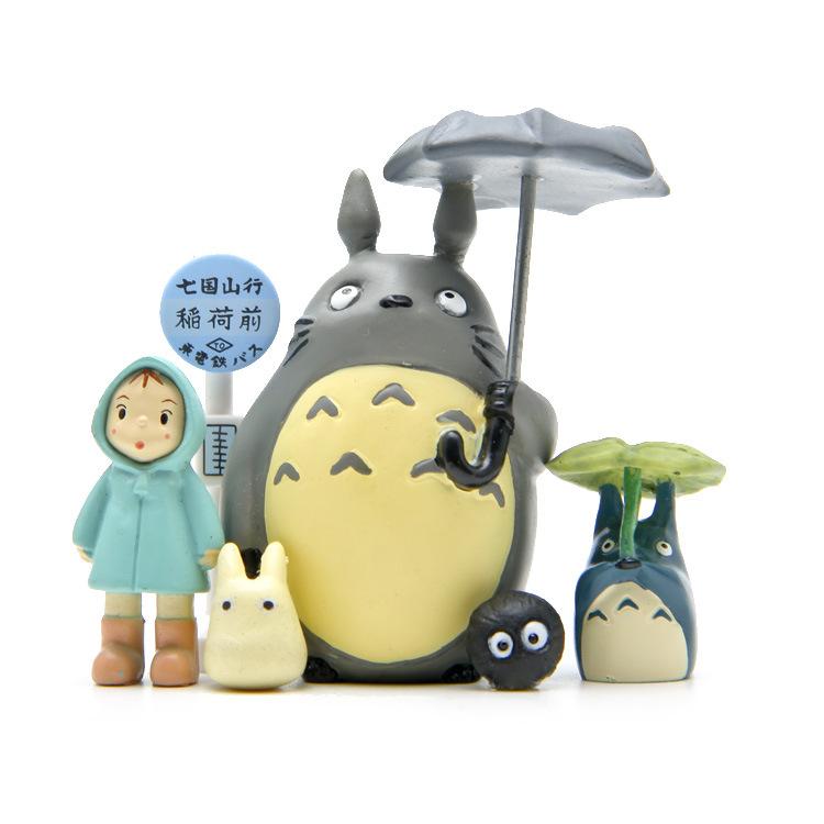 Japanese Anime My Neighbor TOTORO Umbrella Totoro Bus Station Dustbuuny Elf Girl Full Set Figure Ghibli Model Colection Gift New