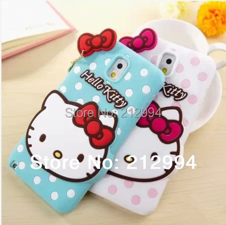 Free Shipping Korea Hello kitty Bow Polka dots silicone case back cover for Samsung Galaxy Note3 S3 S4 Note2(China (Mainland))