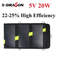 X-DRAGON  20W  5V Outdoor Solar Power Bank Sunpower Solar Panel Charger Camping Charger for Mobile Phone