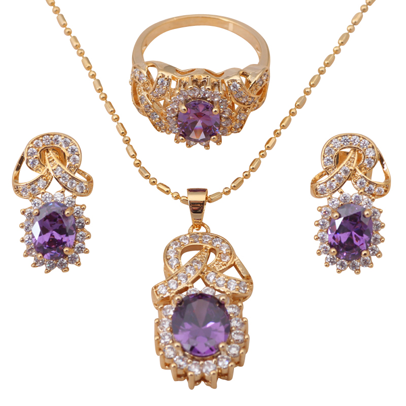 Purple Crystal Jewelry Set 18K k Gold Plated AAA Cubic Zirconia Health Earring Necklace Ring sz #7 #8 #8.5 JS170A