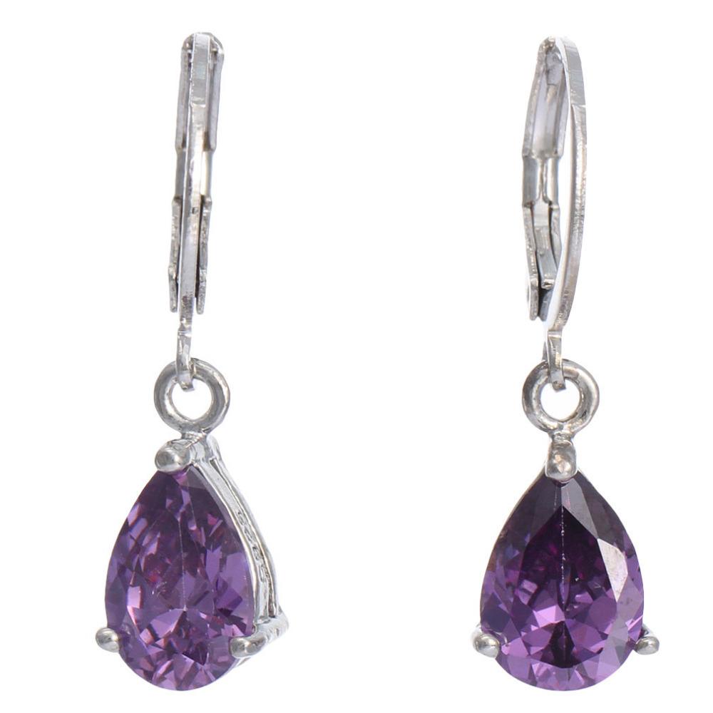 Summer Style Women Sterling Silver Jewelry Earrings Purple Water-Drop Rhinestone 925 Sterling Silver Earrings For Women SF444(China (Mainland))