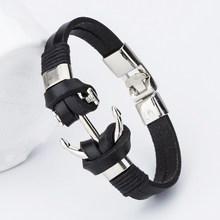 Buy 2017 New Fashion Charm Leather Anchor Bracelets Men Popular Bangle Handmade Leather Bracelets Hooks Bracelets ! for $1.71 in AliExpress store