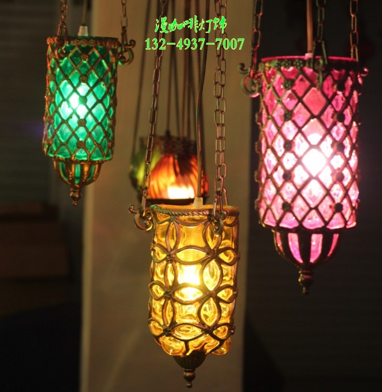 hall features a small chandelier classic style copper chandelier green yellow pink color can be selected LED lamps(China (Mainland))