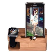 Bamboo Wood Charging Station Charger Dock Stand Holder For Watch Phone For iPhone