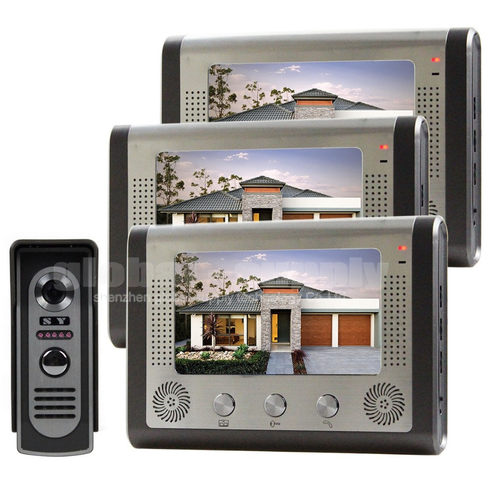 "7"" Door Bell Wired Video Door Phone System Home Security Entry 2 Way Intercom IR Camera(China (Mainland))"