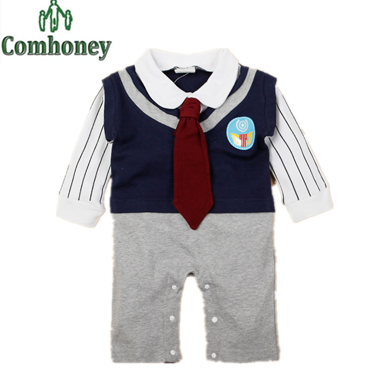 Baby Boy Tuxedo Romper for Bebe Long Sleeve Outfit Infant Stripe Gentleman Clothes for Newborn Cheap Fashion Baby Romper Clothes(China (Mainland))