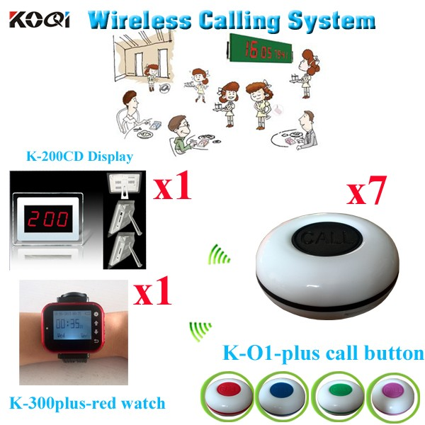 K-200CD+K-300plus-RED+O1-plus 1+1+7 Waiter Call System GOLD APOLLO - Wireless Waiter Service Call Best Pager ( 1pcs display with 1pcs watch and 7pcs call buzzer)