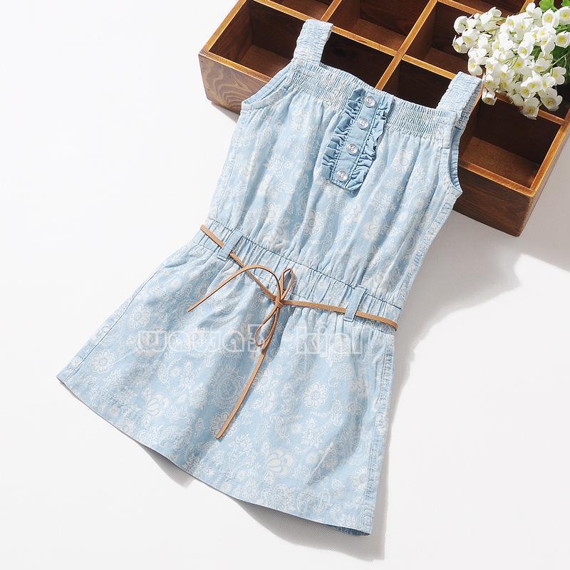 2015 Summer new Girls washed denim dress children printed suspender dress kids holiday dress A6340(China (Mainland))