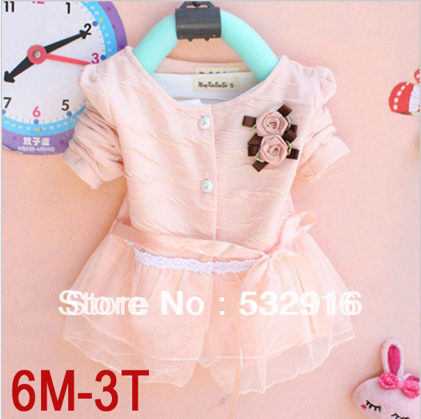 2014 New Fashion knit Baby girls' dress Kids Autumn Winter Clothes Long Sleeve Flower lacing lot - Marco General Clothing Trading Company store