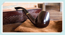 Smoking Set Ebony Wood Smoking Pipe Handmade Black Tobacco Pipe 9mm Filter Wooden Pipe WR016