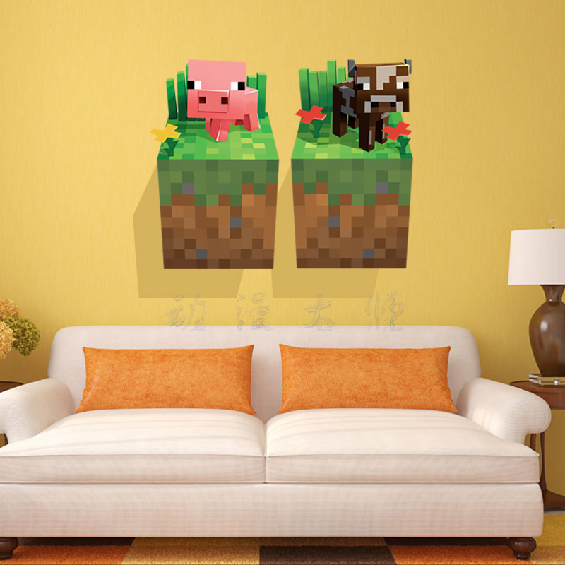 3D Minecraft Style Wall Decal Poster Sticker Room Bedroom Decor Video Game-4(China (Mainland))