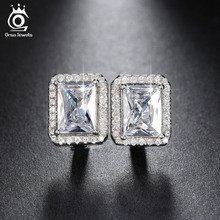 3 Color Plated Luxury 2ct Rectangle Simulated Diamond Silver Earrings for Women Birthday Gift Romantic Wedding Jewelry OE95(China (Mainland))