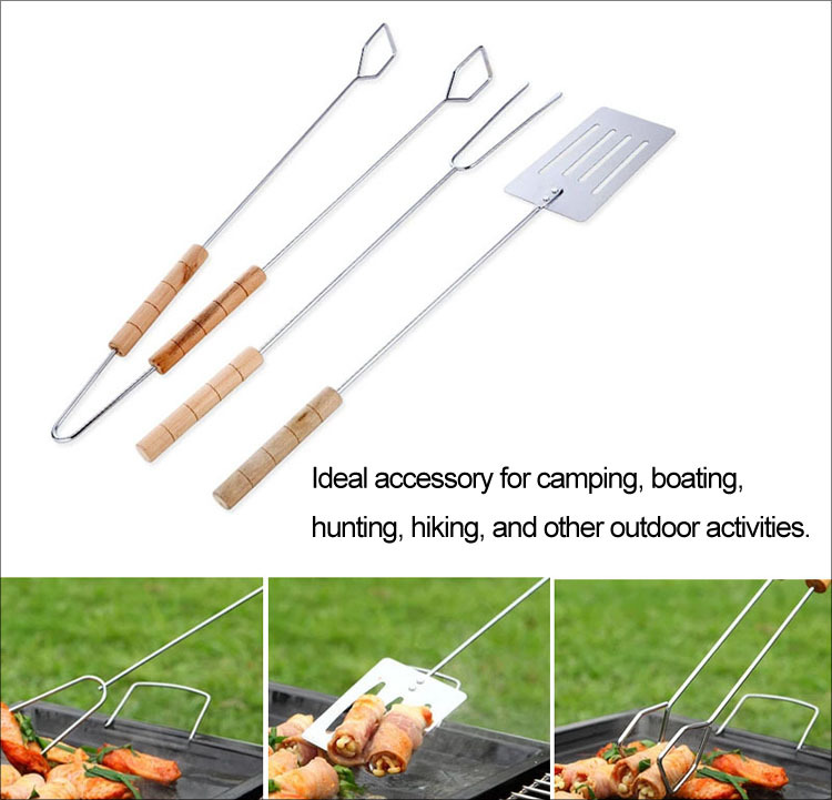 New Hot 3Pcs Stainless Steel Barbecue Tool Kits Roasting Needle BBQ Clip Barbeque Spatula Skewers Kabob Sticks Camping Equipment(China (Mainland))