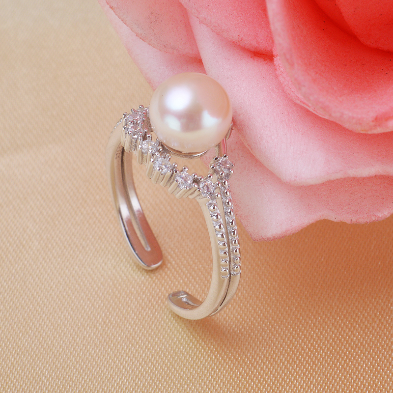 Real 925 sterling silver babysbreath design Freshwater Pearl ring wedding jewelry best gifts for girl pink/white/purple<br><br>Aliexpress