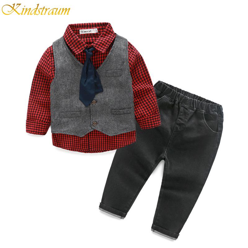 Kindstraum Boys Spring Formal Suits Plaid Shirt + Vest + Pants + Tie Formal Sets For Children ...
