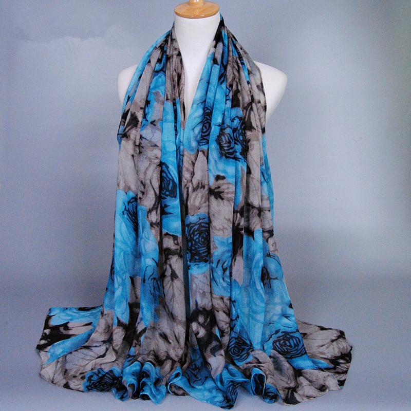 2016 new fashion printed flower design long voile viscose pashmina shawls winter Muffler head wrap muslim hijab cape scarves(China (Mainland))