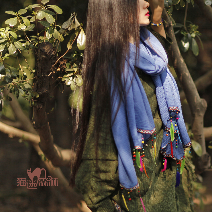 2015 new mori girl feather ultra long paragraph tassel embroidery patchwork 100% cotton scarf cape autumn and winter female(China (Mainland))