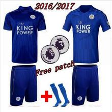 NEW 2016 2017 LEICESTER City jersey blue black soccer jersey 2016 VARDY KRAMARIC OKAZAKI ULLOA 1617 football Shirts and Short(China (Mainland))