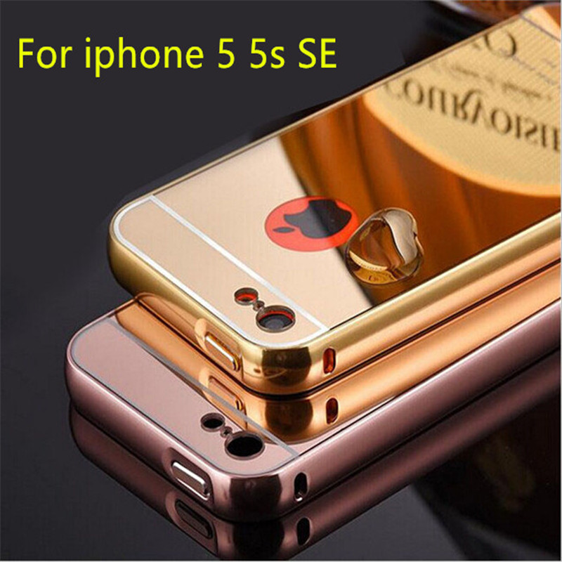 For iPhone 5 5S SE Mirror Back Capa Ultrathin Alumimum Metal Frame Phone Case For iPhone 5 5S SE Luxury Hybrid Protective Cover(China (Mainland))